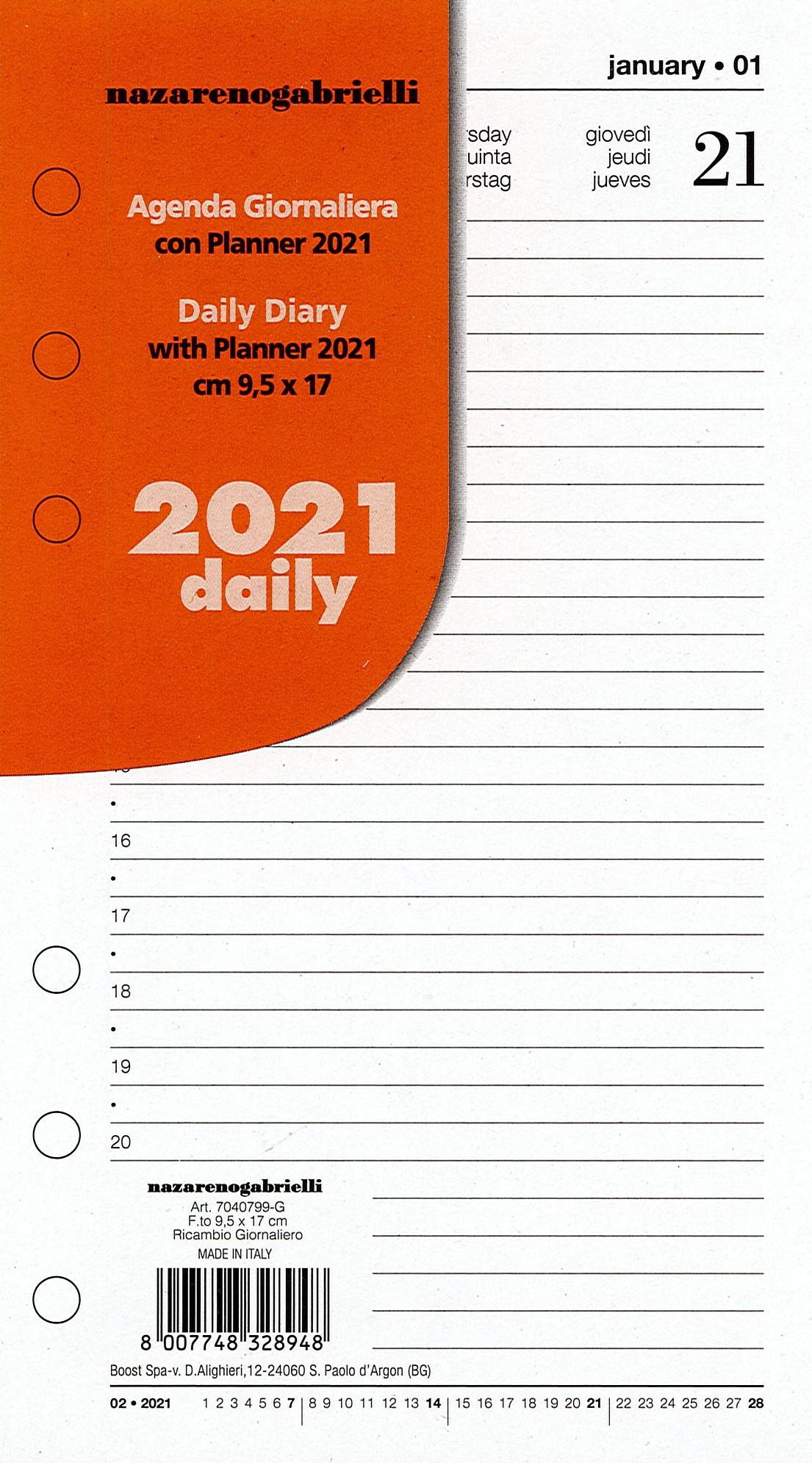 RICAMBIO AGENDA GIORNALIERA CON PLANNER 2021 PER ORGANIZER F.TO 9.5 x 17 CM