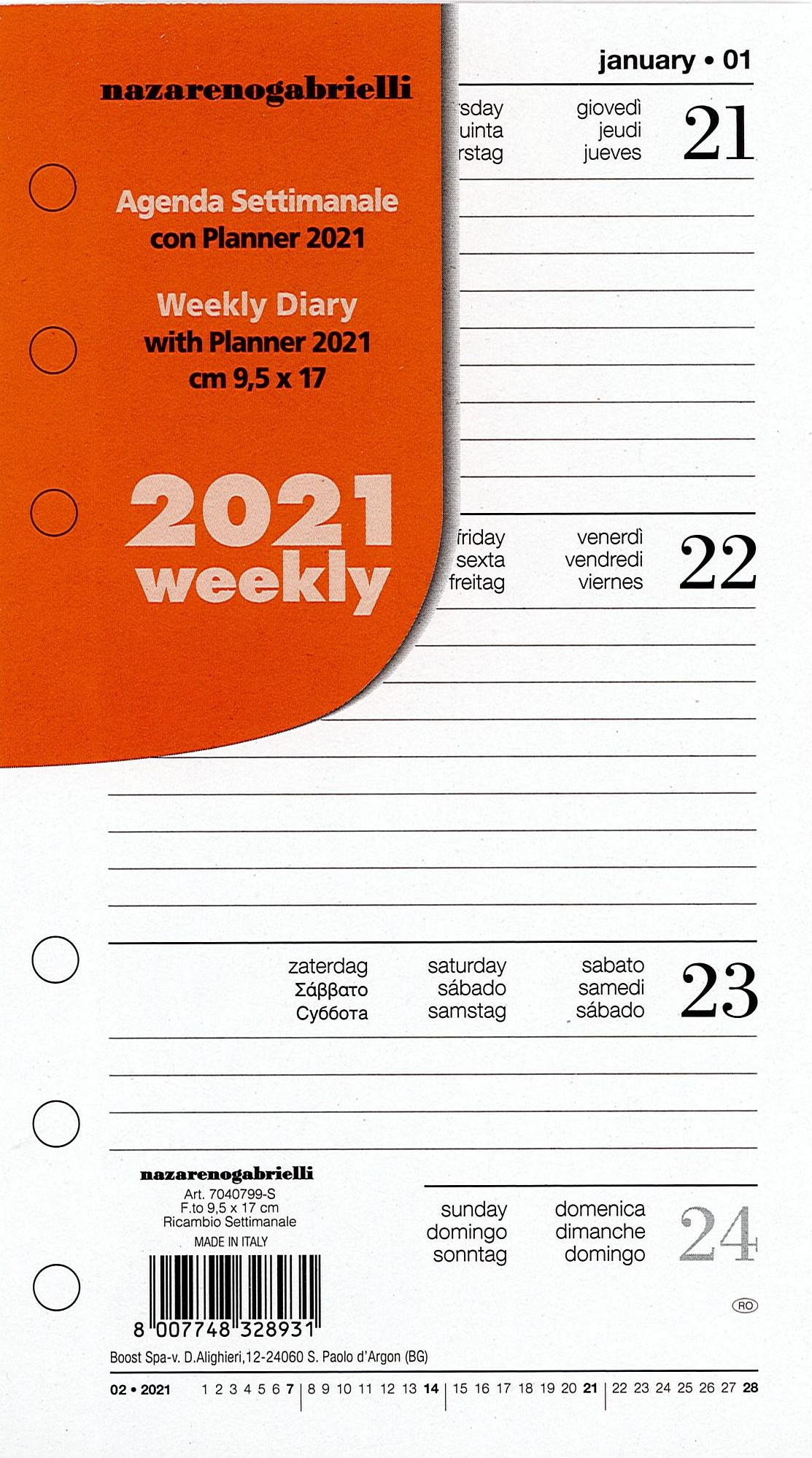 RICAMBIO AGENDA 2021 SETTIMANALE A5