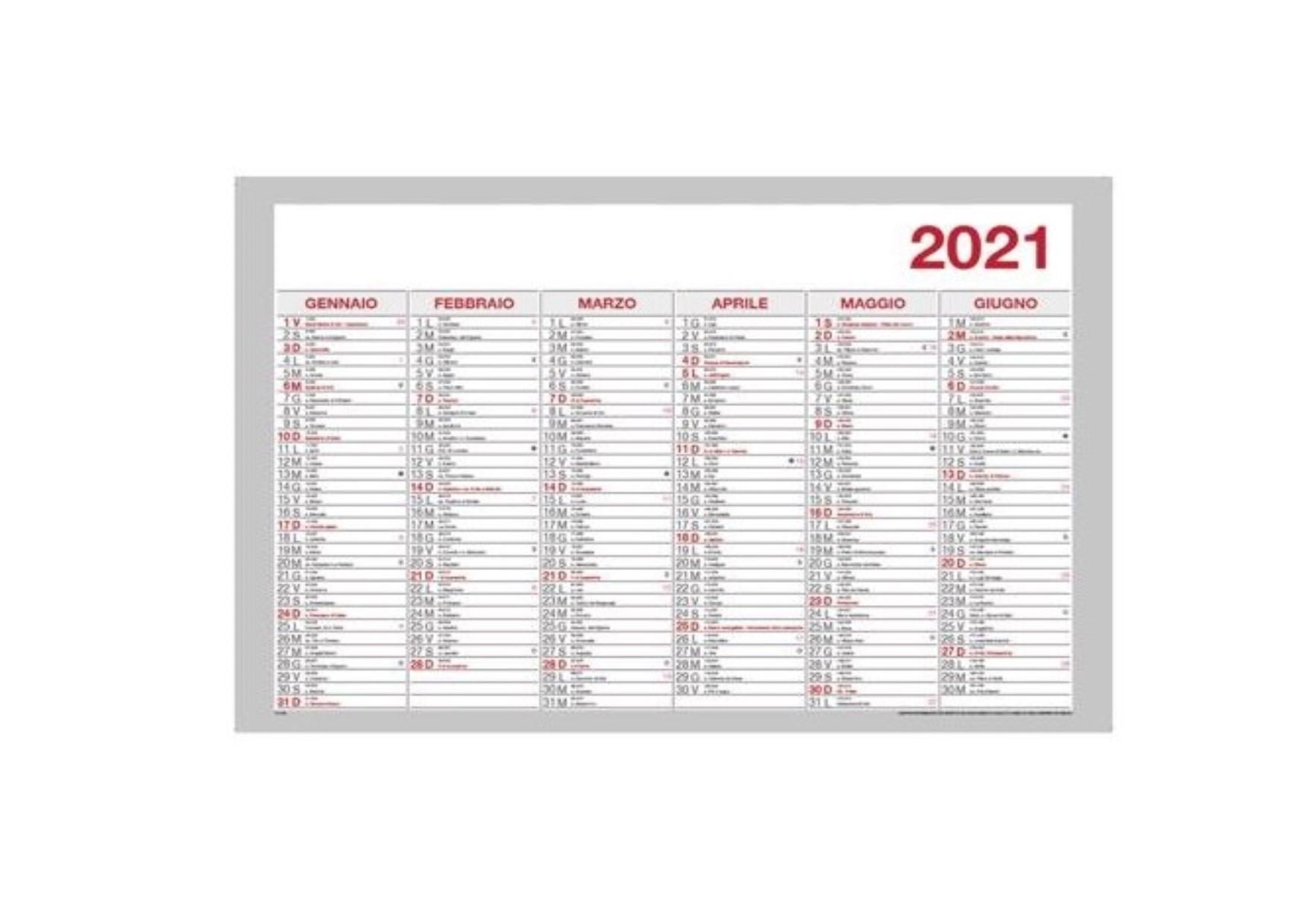 Calendario Semestrale 2021 Stampabile Tabella Calendario Semestrale 2021 cm. 48x33   Carta Shop